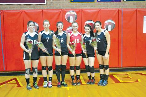 Seniors Katie Cullina, Abby Tibbetts, Sierra Harger, Haley Samuelson, Joan Wyeth, and Claire Hurwitt all played pivotal roles in helping the Warriors' volleyball team to 13 wins this season.