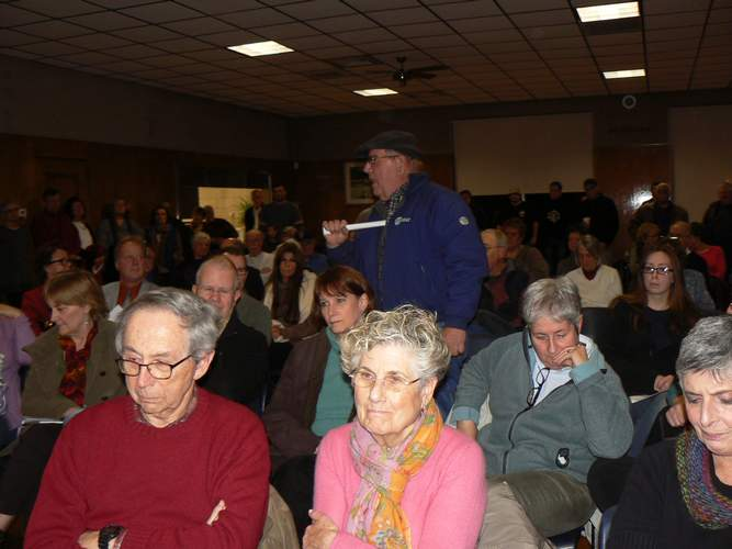 A resident gives his input during a packed Jan. 14 meeting of those responding to a call for a Community Coalition for Responsible Gun Control in Branford.