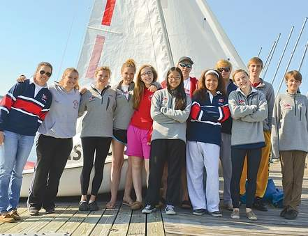 Pictured are the members of the Branford sailing team, which recently placed 15th at the State Championship, after which the Hornets notched a few victories last week. From left to right are (back row) Coach Kirsten Murray, Bailey Fryer, Lillian Brown, Haley Brown, Sasha Shpitainik, Nate Barton, Pat Day, and Kergan Schoenherr; along with (front row) Alena Bianchi, Cassandra Collins, Lily Kirby, and Trinity Fryer.