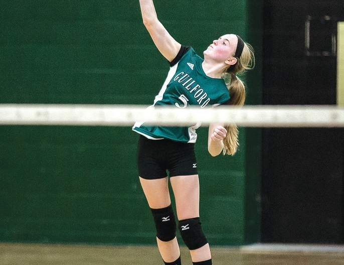 Sammy Carlson was Guilford volleyball's leading passer with eight assists in its 3-0 opening night loss to Sheehan on Sept. 9 in which the Indians gave the Titans a competitive fight during the first and third sets.