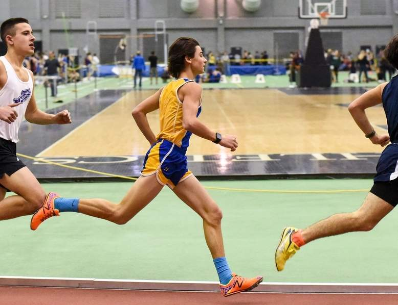 Michael Callis was part of the first-place 4x800 relay team that helped HK boys' indoor track finish second at the Class S State Championship on Feb. 12.