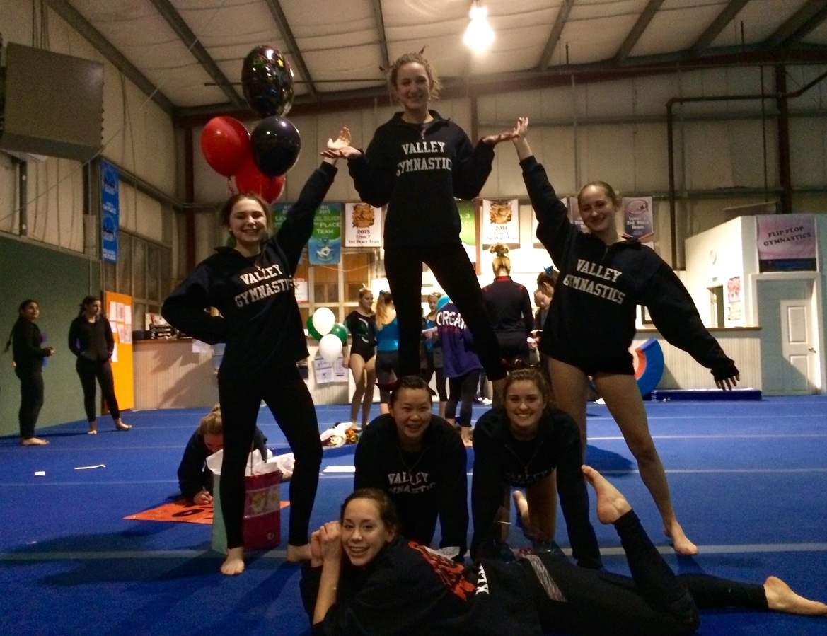 The Valley gymnastics team has a solid chance at competing in states this winter after wrapping up its regular season last week. Pictured from the Warriors are (front) junior Cassidy Kehlenbach, (middle row) freshman Corinne Fowler and freshman Lily O'Neil, (back row) junior Liza Miezejeski, senior captain Melanie Lee, and sophomore Emily Brucker.