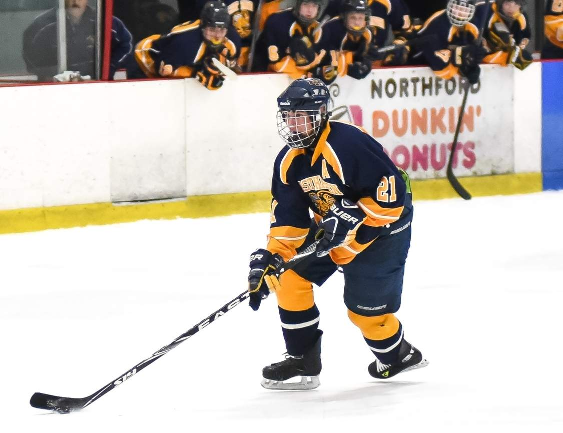 Nick Latella played a key role for the East Haven boys' ice hockey team in its 6-0 shutout of Masuk that gave Head Coach Lou Pane his 400th victory and earned the squad a berth in the Division II State Tournament.