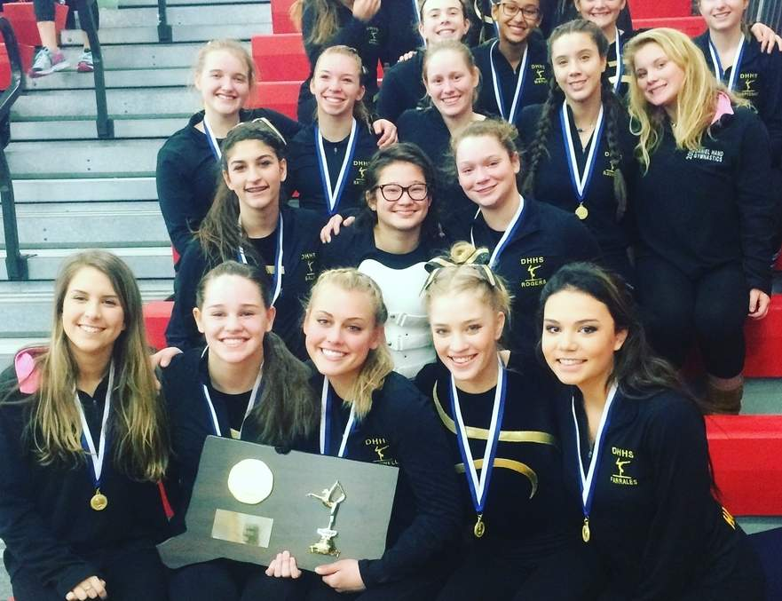 The Hand gymnastics squad scored 135.875 points to claim its fourth-consecutive Class M state championship and 17th state title overall at Pomperaug on Feb. 27.