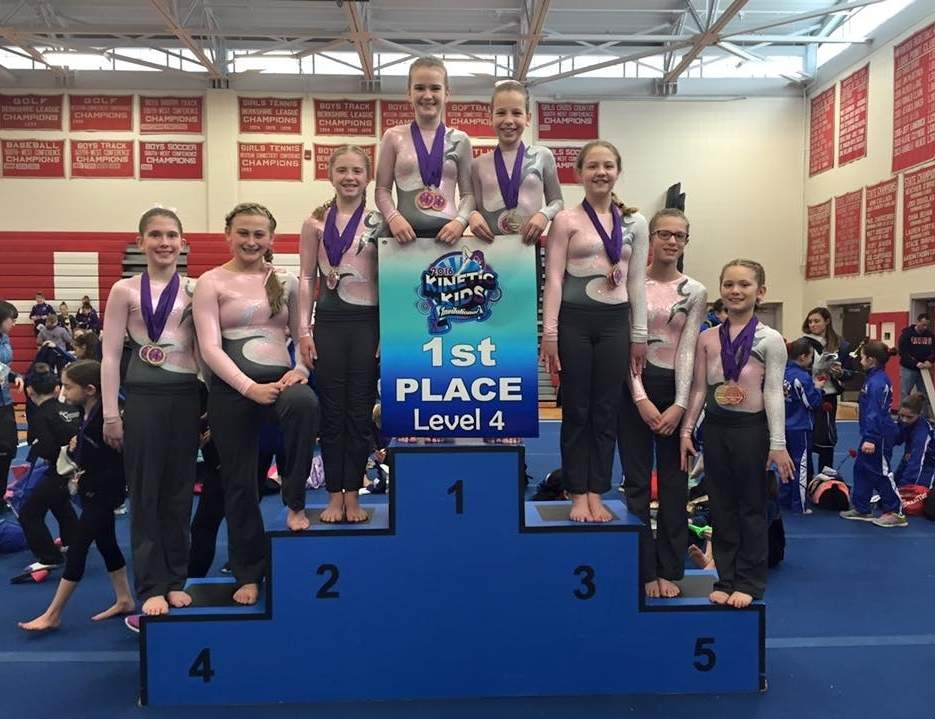 Flip-Flop Gymnastics Level 4 team won first place at the Kinetic Kids Invitational. Pictured are Leah Frantz (Deep River), Chase Conrad (Ivoryton), Sarah Cole (Chester), Erin Ward (Chester), Emily Smith (Clinton), Allyson Viens (Higganum), Violet Lavezzoli (Deep River), and Rebecca Rosenblum-Jones (Killingworth).
