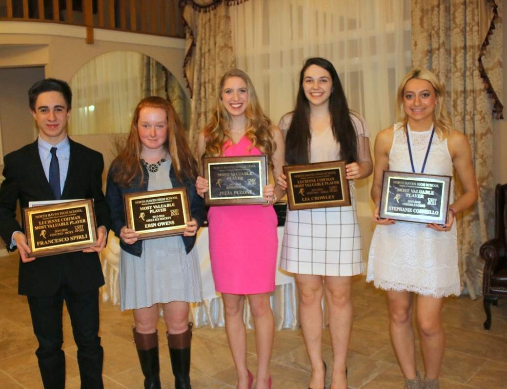 Pictured are Indians' Most Valuable Player recipients Francesco Spirili (boys' fencing), Erin Owens (girls' ice hockey), Julia Puzone (girls' basketball), Lia Crowley (girls' fencing), and Stephanie Corniello (cheerleading). Missing from the photo is Elise Symon (girls' indoor track).