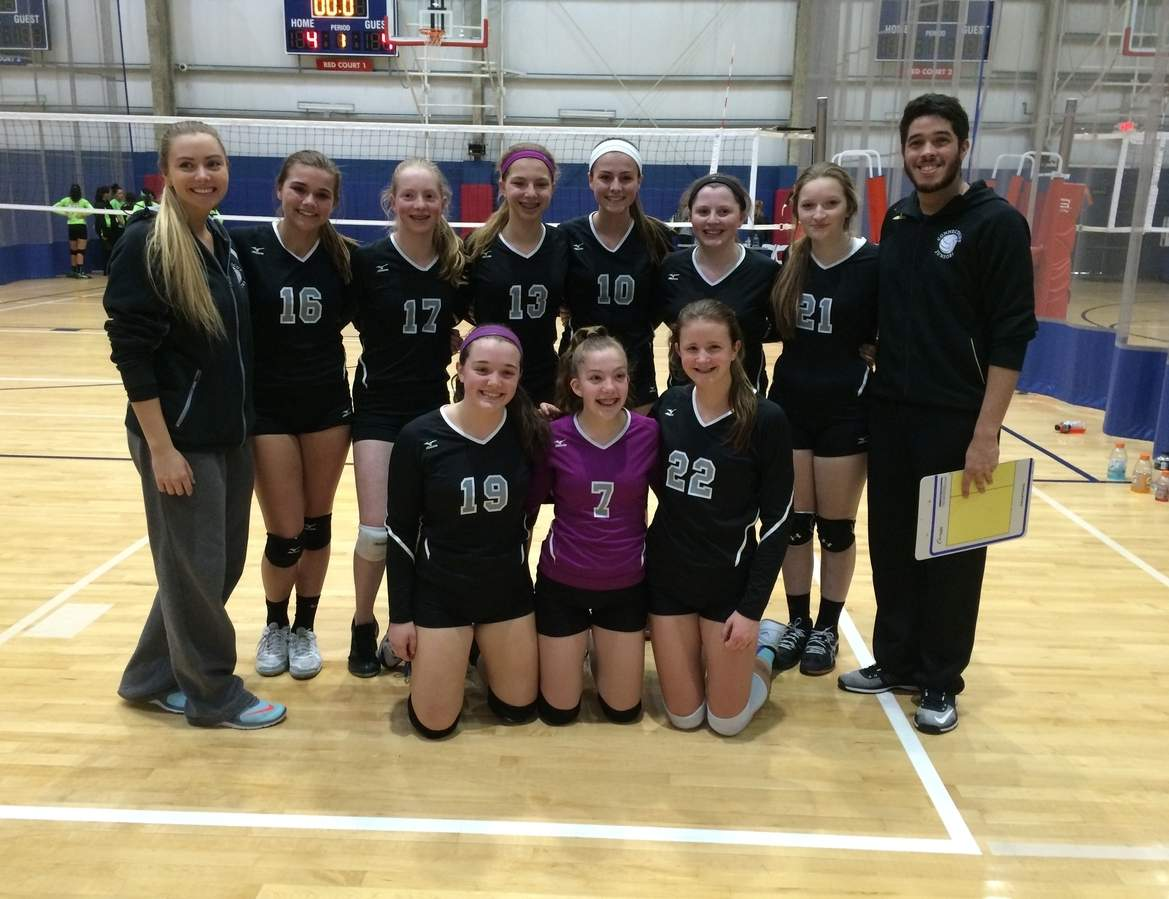 Pictured are Guilford volleyball players Juliet Young (No. 17, top row, third from left), Casey Goldberg (top row, third from right), and Emma Appleman (No. 22, bottom row, far right).