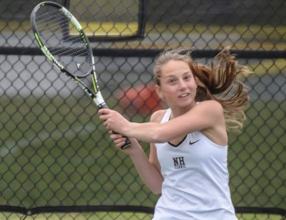 Freshman Julia Migliorini has a 12-1 record at the No. 1 singles position for the North Haven girls' tennis team, which is on the brink of another winning season, plus berths in both postseason tournaments.  Photo by Kelley Fryer/The Courier