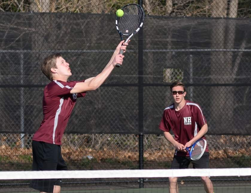 Sophomores Matt Carroll (left) and Riley Powell own a record of 11-3 as the No. 2 doubles duo for the North Haven boys' tennis team this spring. As a team, the Indians are 8-7. Photo by Kelley Fryer/The Courier