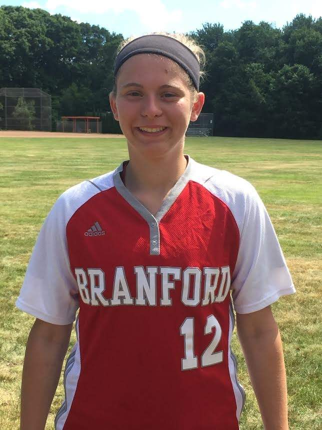 Marisa Minore's first varsity season saw the sophomore record a .537 batting average with an .835 slugging percentage. As a result, Marisa was selected as a member of the All-SCC Oronoque Division Team on behalf of Branford softball. Photo courtesy Marisa Minore