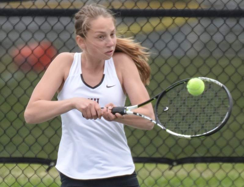 Julia Migliorini claimed a variety of accolades after going 22-2 in her freshman year playing No. 1 singles for North Haven girls' tennis. Migliorini was All-SCC, All-State, the SCC Division I Player of the Year, and also the Indians' Most Valuable Player.  Photo by Kelley Fryer/The Courier