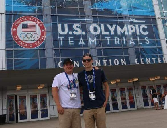 Guilford resident and Soundview YMCA Stingrays swimmer Corey Gambardella finished in 47th place with a time of 2:01.96 for the 200-meter butterfly at United States Olympic Team Trials in Men's Swimming in Omaha, Nebraska on June 28. Gambardella (right) is pictured with his Stingrays' coach Wesley Crozier.  Photo courtesy of Ashley Olson