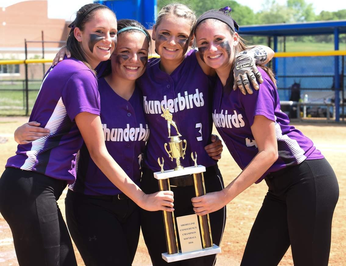 Seniors Lindsay Golia, Sabrina LeMere, Haley Basil, Meghan Golia celebrate after North Branford softball captured its second-straight Shoreline Conference Tournament championship. The Thunderbirds broke the program record for wins in a season for the second year in a row by finishing at 24-2.  Photo by Kelley Fryer/The Sound