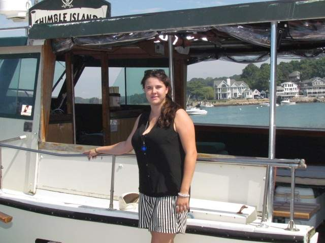 The stories loved by her dad, Captain Bob Milne, continue to be shared by his daughter Anna Milne when she captains Volsunga IV as the new owner/operator of Thimble Islands Cruise. Photo by Pam Johnson/The Sound