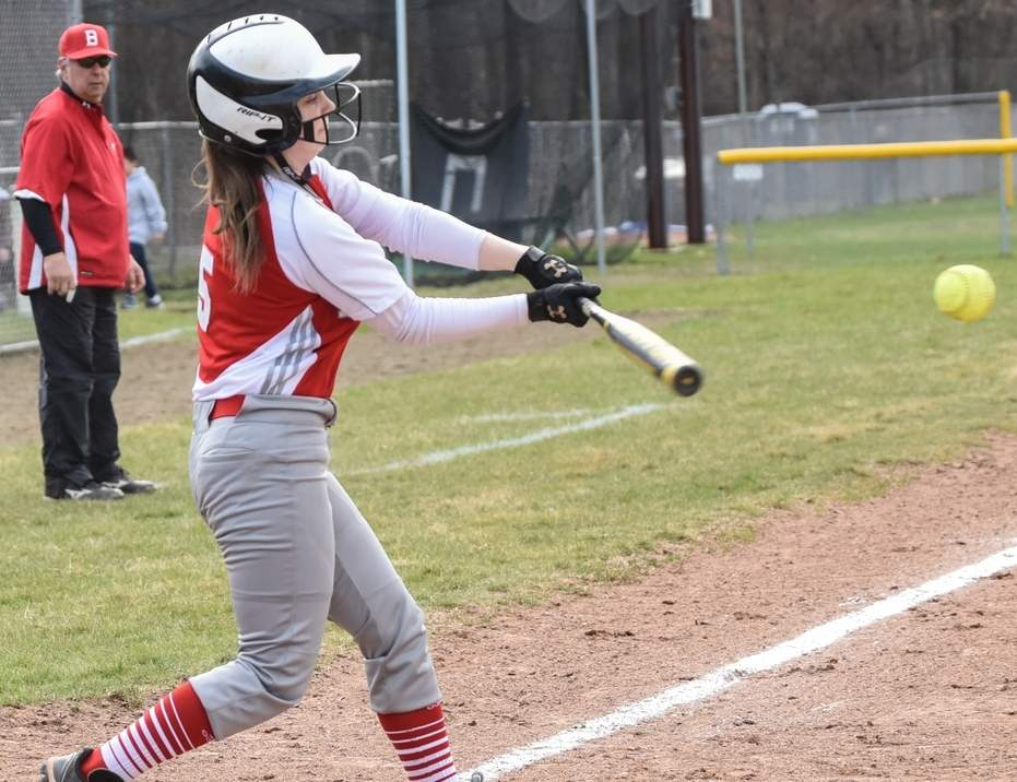 Senior captain second baseman Katie Massey batted .339 this spring for the Branford softball squad, which featured a young group of athletes who finished strong by winning their last four games.  Photo by Kelley Fryer/The Sound