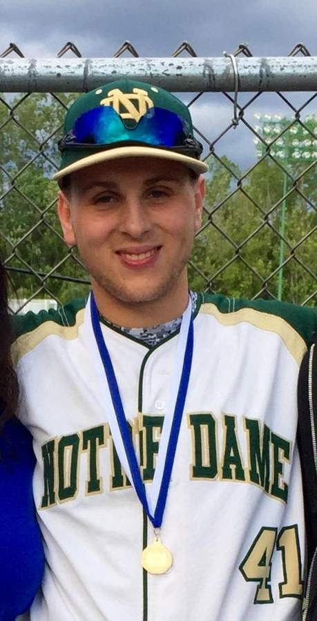 East Haven resident Frank Longley beefed up between his sophomore and junior seasons to develop into the cleanup hitter for the Notre Dame-West Haven baseball team that won the Class L state championship this spring. Photo courtesy of Frank Longley