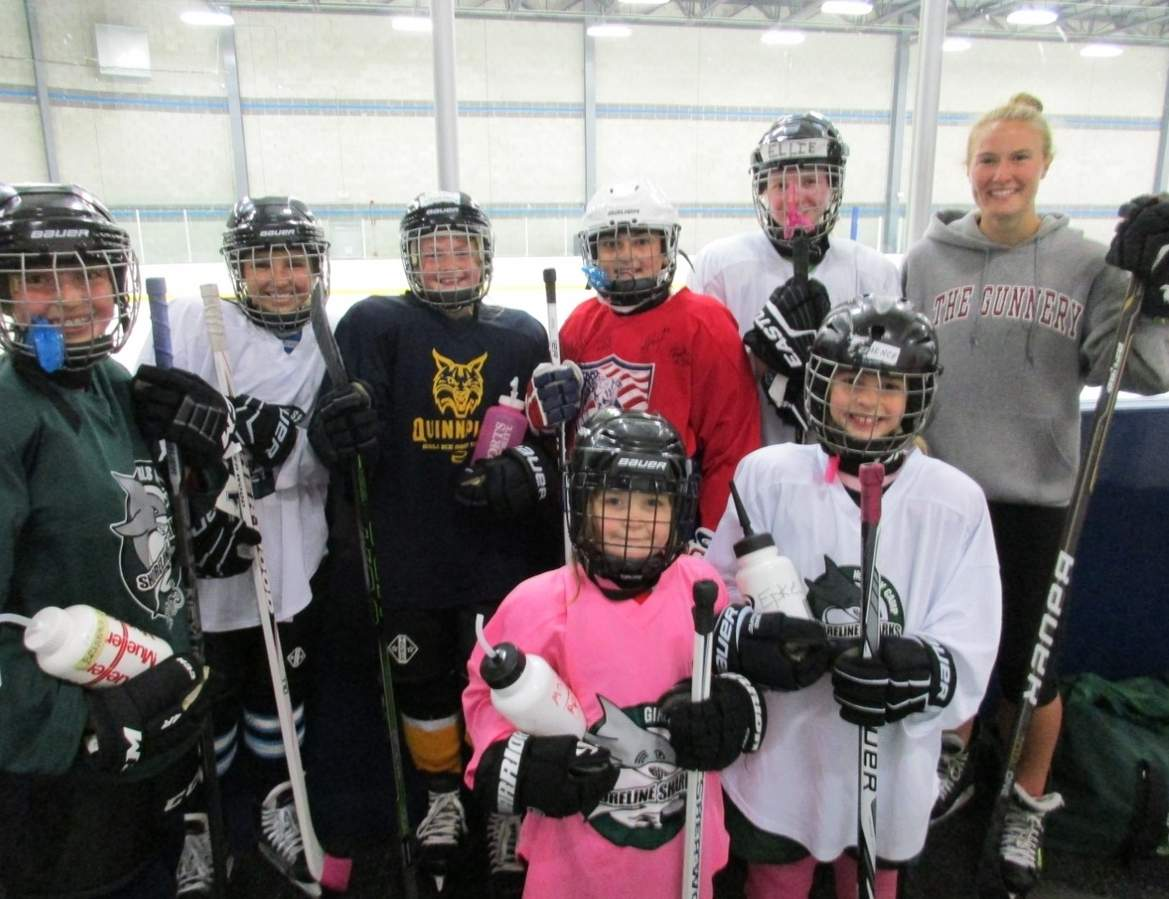 Pictured from the Shoreline Sharks ice hockey program are Guilford residents Brianna Lent, Mainly DePetris, Hailey Kruczek, Maddie Epke, Ellie Miller, and Tessa Mackey; (front row) Maggie Apicella and Kate Epke.  Photo courtesy of the Shoreline Sharks