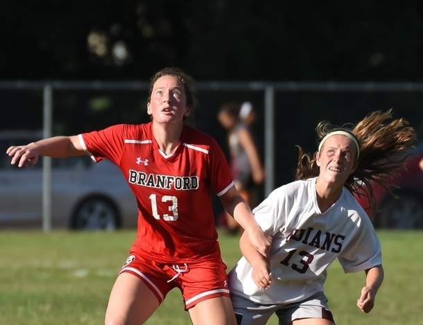 Junior Wyntre Fries and the Branford girls' soccer team began their campaign by shutting out North Haven 2-0 on the road on Sept. 9.  Photo by Kelley Fryer/The Sound