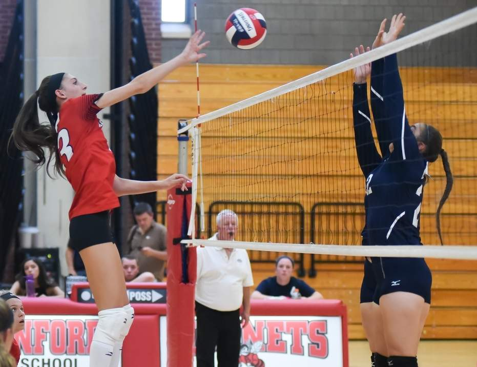 Junior Haley Maercklein had 13 kills and 10 digs when the Branford volleyball team pulled off a 3-2 home victory against Guilford on Sept. 21.  Photo by Kelley Fryer/The Sound