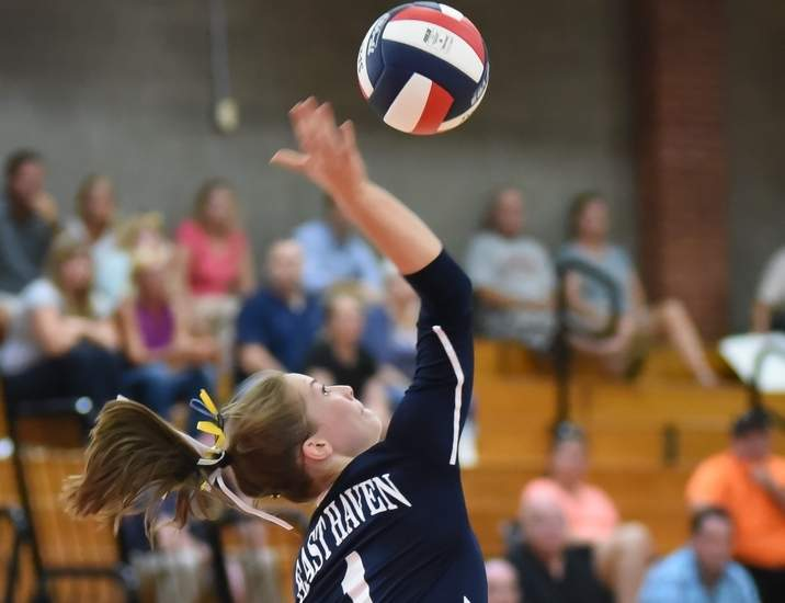 Junior Kylie Schlottman has been a force around the net for the East Haven volleyball team, converting 98 kills through the Yellowjackets' first 10 matches thus far.  Photo by Kelley Fryer/The Courier