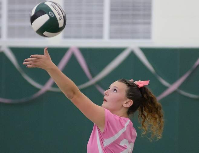 Senior tri-captain Eryn Murtagh has helped the Guilford volleyball team get out to a steady start in 2016 as the Indians look to build upon a last year's success.  Photo by Kelley Fryer/The Courier