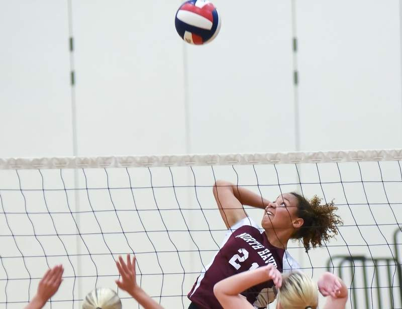 Senior Laurissa Amaker and the North Haven volleyball team defeated West Haven and Law at home last week to improve to 4-6 this season. Visit Zip06.com to see more photos from the West Haven victory. Photo by Kelley Fryer/The Courier
