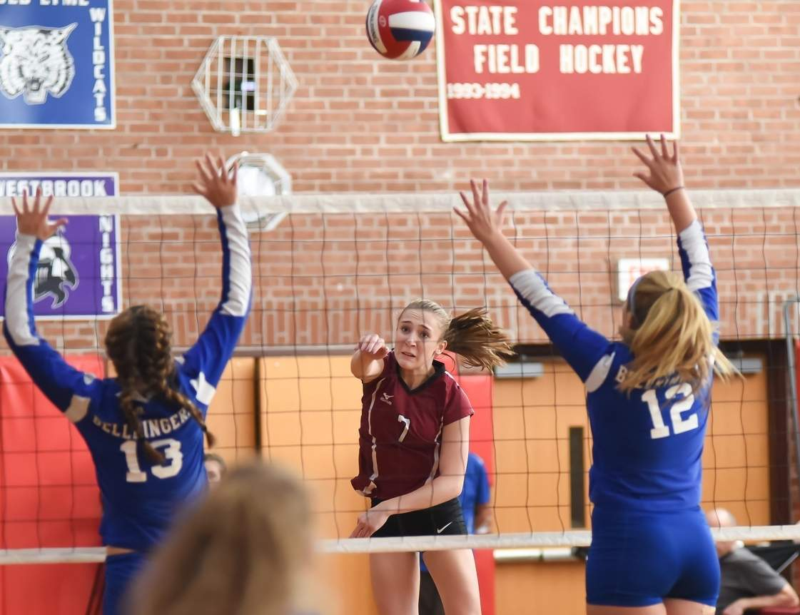 Senior captain Emily McLaughlin and the Valley volleyball team are on their way to states after winning three matches last week, including the clincher in five sets versus Coginchaug.  Photo by Kelley Fryer/The Courier