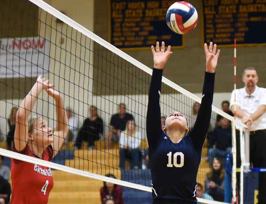 Isabella Ragaini has stepped into her role as the East Haven volleyball team's setter and done a great job feeding hitters Kylie Schlottman, Summer Onorato, Diana Kalman, and Julia SanGiovanni.   Photo by Kelley Fryer/The Courier