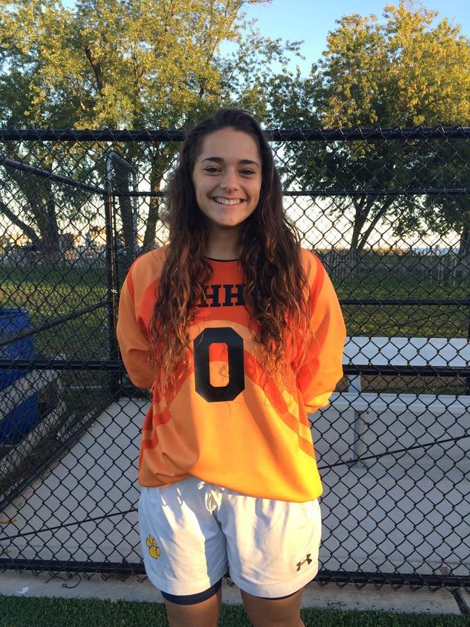 Lily Geshwind came back to the Hand girls' soccer team as a senior and has posted eight shutouts in goal for the Tigers. Photo courtesy of Lily Geshwind