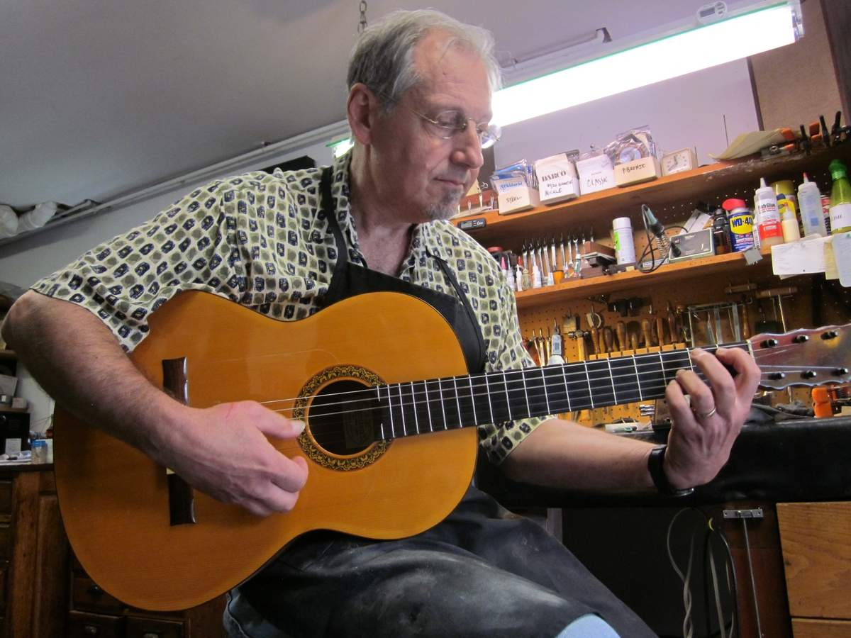 """I had to prove that I could do it,"" says Paul Neri of his eight-month-long project in which he built a flamenco guitar from scratch.  Photo by Jen Matteis/Harbor News"