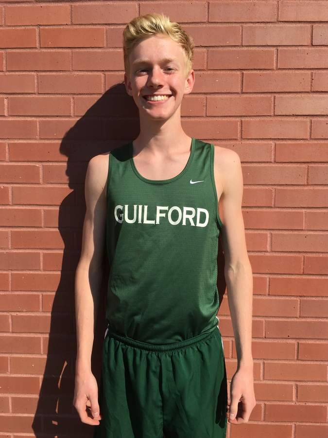 After just missing out on an All-State spot last season, Guilford boys' cross country senior co-captain Finn Davidson is determined to make the cut at this year's Class MM State Championship. Photo courtesy of Finn Davidson