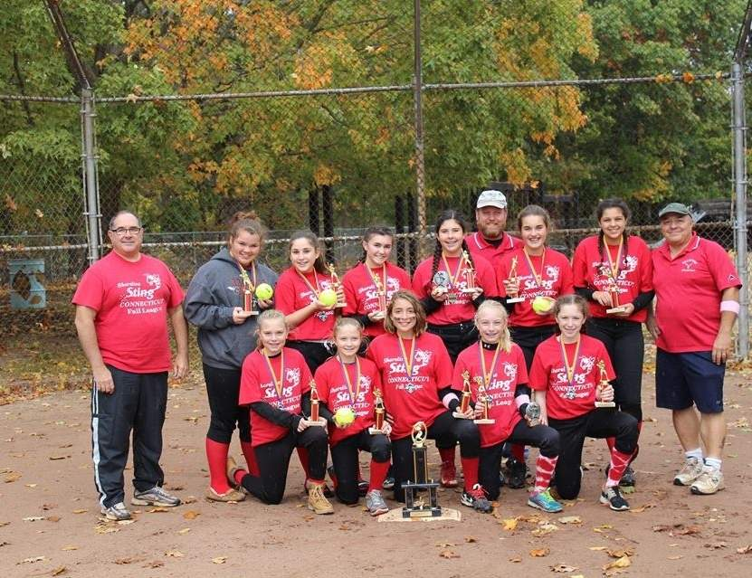 Pictured from the Branford Hornets fall ball softball squad are (front row) Caroline Johnson, Jillian Cofrancesco, Haley Seay, Marzia Johnson, and Paige Kelly; along with (back row) Coach Rocco Esposito, Paige Richardson, Gabriella Lucertini, Kaitlyn Dugan, Sophia Esposito, Coach Mark Johnson, Eva Mathis, Leila Czekaj, and Coach Tom Cofrancesco. Missing from the photo are coaches Rick Kelly and Renee Holzhauser and bookkeeper Shane Dugan.  Photo and information courtesy of Tom Cofrancesco