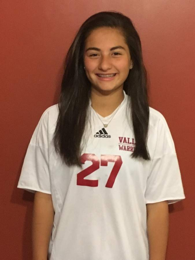 Sam Calamari made a big-time impact at the varsity level as a freshman for Valley girls' soccer this year and looks forward to three more solid seasons with the Warriors. Photo courtesy of Sam Calamari