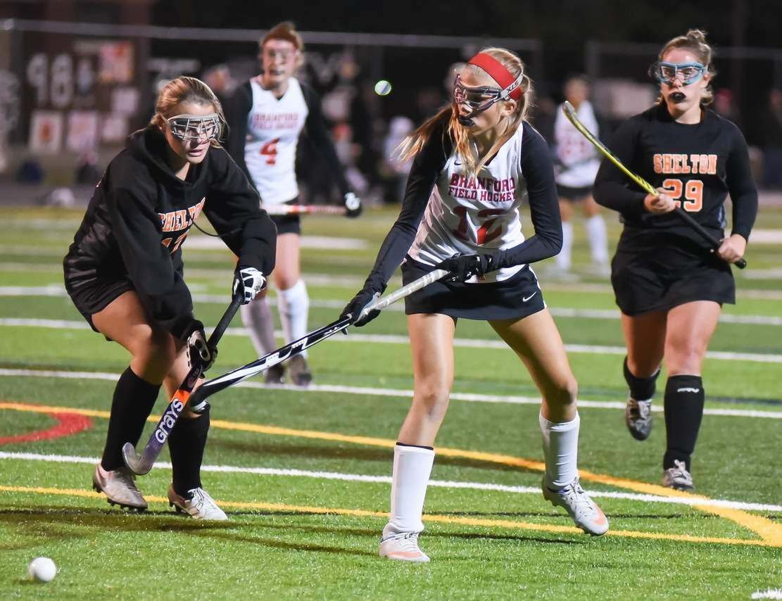 Brianna Shaw and the Branford field hockey team advanced to the Class M State Tournament semifinals after blanking both Pomperaug and East Lyme by 4-0 scores in the first two rounds.  Photo by Kelley Fryer/The Sound