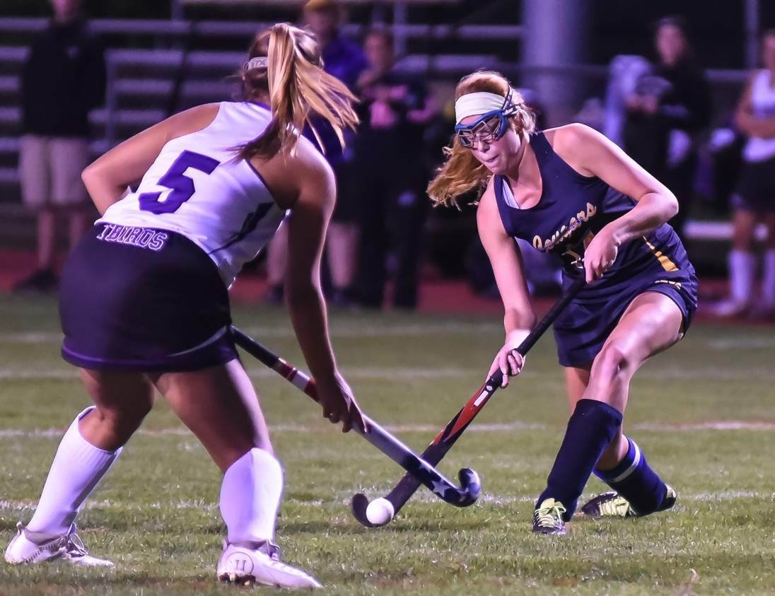 Brinley Anderson notched four goals in the HK field hockey team's 9-1 rout of Wamogo in the first round of the Class S State Tournament on Nov. 8. The Cougars went on to edge Immaculate 1-0 to advance to the semifinals.   Photo by Kelley Fryer/The Source