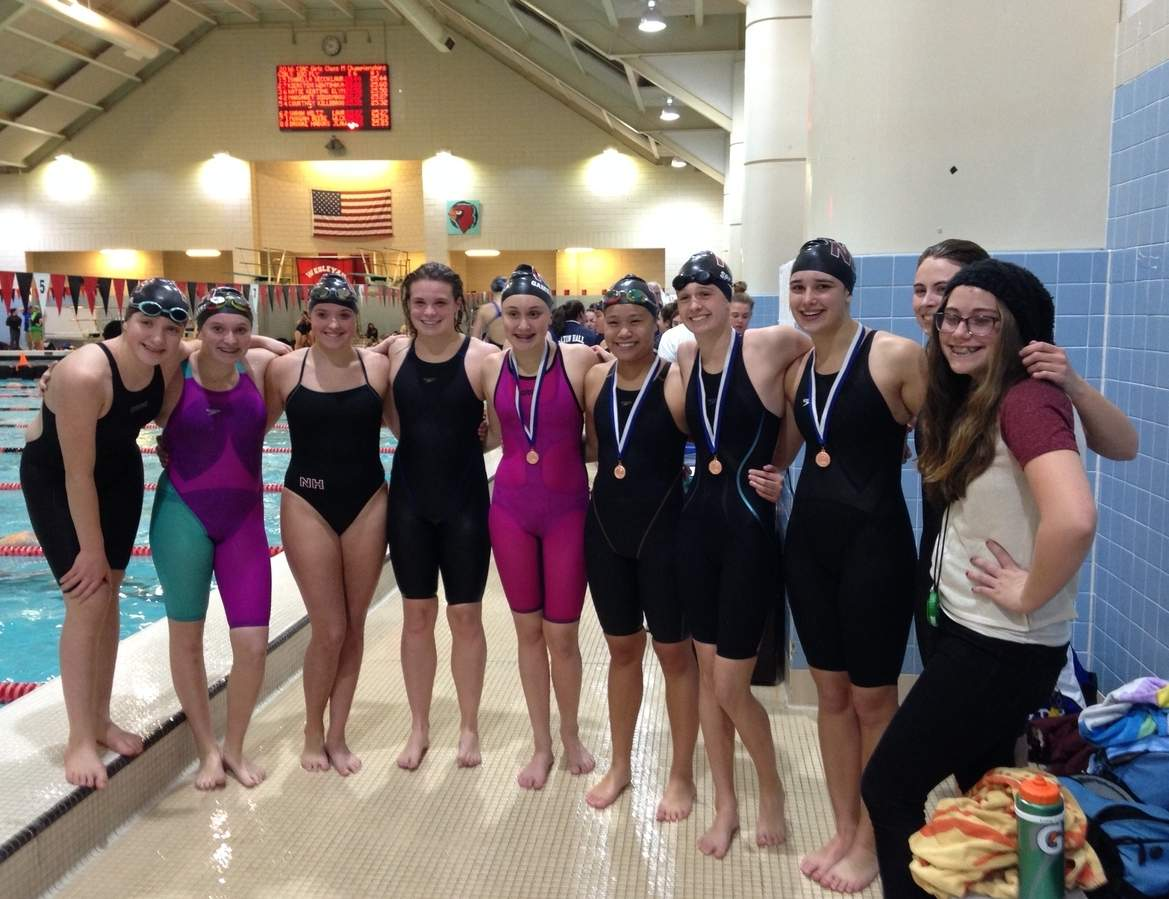 The North Haven girls' swimming and diving squad recorded a fourth-place finish at the Class M Championship, marking the program's all-time best showing at states. Pictured from the Indians are Kiersten Winter, Mackenzie Montesi, Michaela Salvo, Callyn Priebe, Angela Gambardella, Jasmine Nguy, Lauren Spencer, Laura Borelli, Molly Duffy, and Abby Kirtland.  Photo courtesy of Martha Phelan