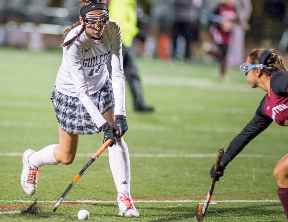 Emily Torre and the Guilford field hockey squad clinched a berth in their first state final in four years after defeating Lauralton Hall 1-0 in the Class M semis on Nov. 16.  Photo by Chris Eadevito/The Courier