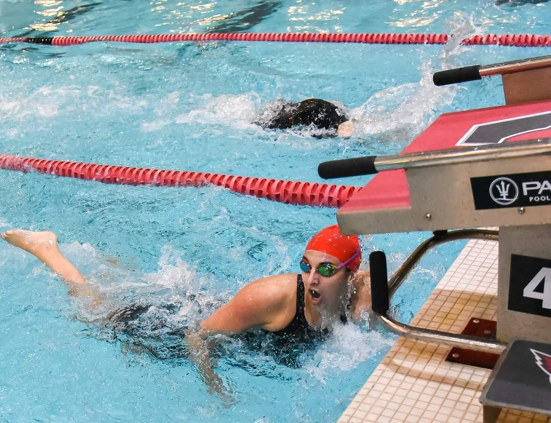 Westbrook senior Caitlin McNary was first to touch the pad in both the 100 and 200 freestyles at the Class S State Championship on Nov. 16. McNary has now prevailed at the state meet seven times in her career.  Photo by Kelley Fryer/Harbor News