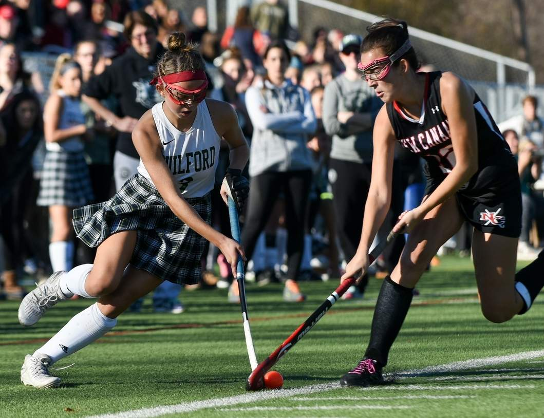 Olivia Clarke scored the lone goal for Guilford field hockey as time expired in the first half of its Class M State Tournament final against New Canaan. The Indians took a 3-1 loss to the Rams at Wethersfield High School.  Photo by Wesley Bunnell/The Courier