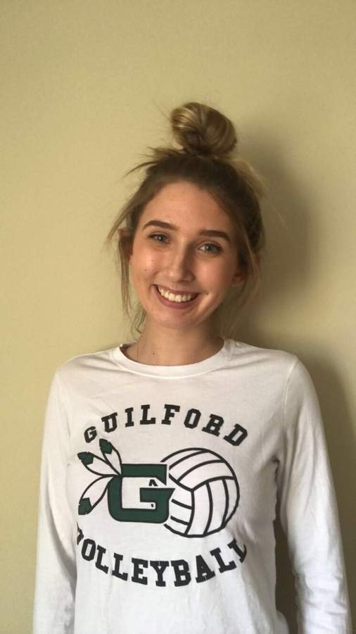 Guilford volleyball senior captain Natalie Stanton moved back to middle hitter full-time this fall and collected 209 kills with 116 digs for the Indians.  Photo courtesy of Natalie Stanton