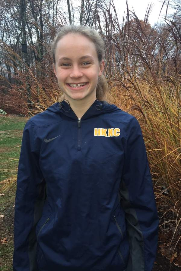 Junior Kelsey D'Amico made both the All-Shoreline and All-State squads for the Shoreline champion and Class SS state runner-up HK girls' cross country team this fall. Kelsey wrapped up her 2016 season by hitting the course at the New England Championship. Photo courtesy of Kelsey D'Amico