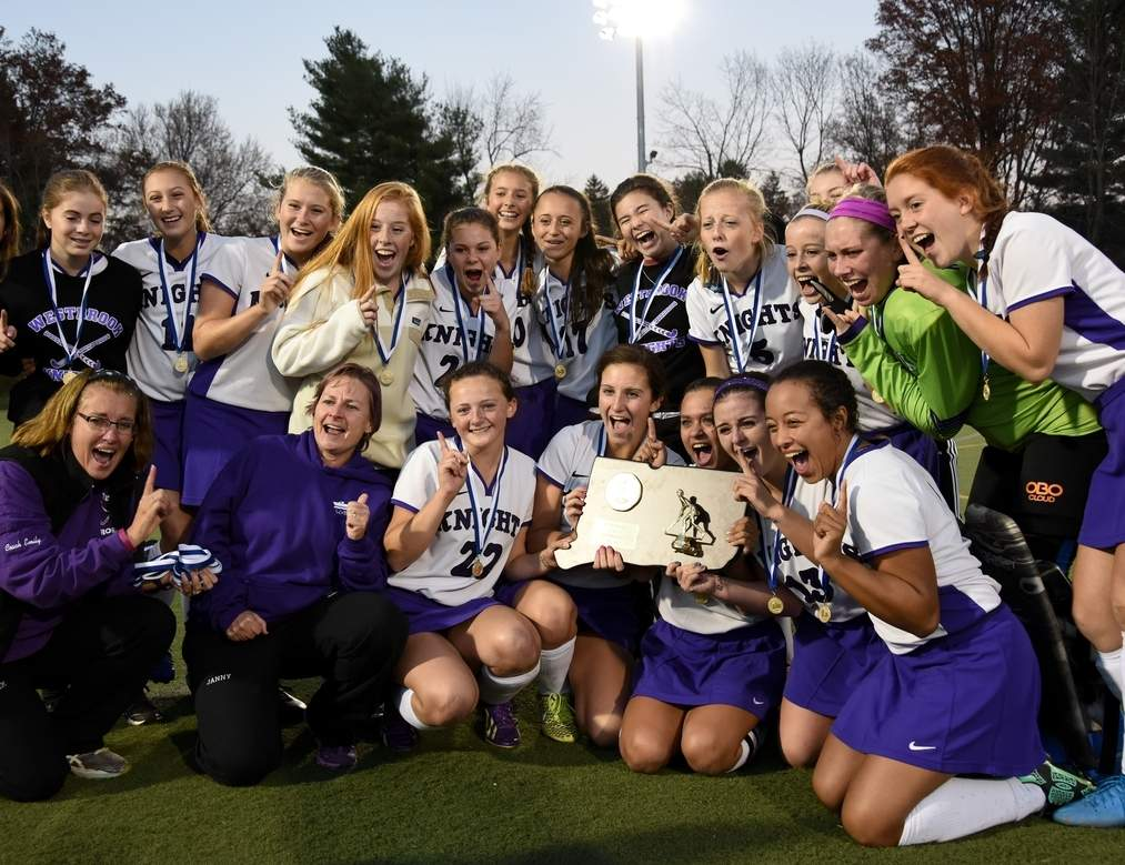 The Westbrook field hockey team tied Haddam-Killingworth 1-1 in the Class S State Tournament championship game on Nov. 19, resulting in the two clubs being declared co-champions.   Photo by Wesley Bunnell/ Harbor News