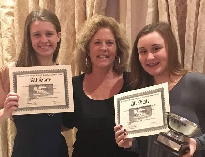 Senior Lauren Spencer and freshman Angela Gambardella were recognized as All-State swimmers at the AquaTurf Club on Nov. 29. Pictured are Spencer, North Haven girls' swimming and diving coach Martha Phelan, and Gambardella.  Photo courtesy of Martha Phelan