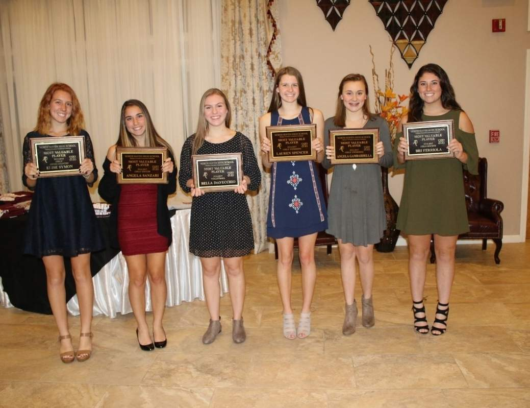 Pictured are North Haven's Most Valuable Player Award recipients for girls' sports from the 2016 fall season. The Indians' MVPs are Elise Symon (cross country), Angela Sanzari (soccer), Bella DelVecchio (volleyball), Lauren Spencer (swimming and diving), Angela Gambarella (swimming and diving), and Bri Ferriola (field hockey).  Photo courtesy of Denise Ciccarelli