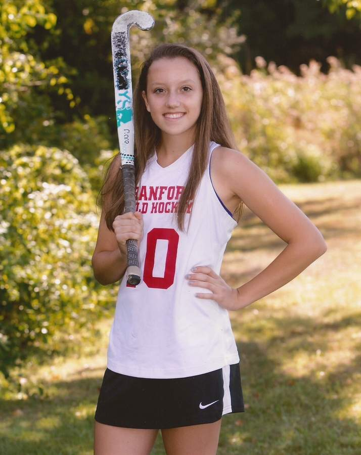 Senior captain center back Alanna Grimm capped her field hockey career at Branford by helping the Hornets capture their first SCC Tournament title this fall.  Photo courtesy of Alanna Grimm
