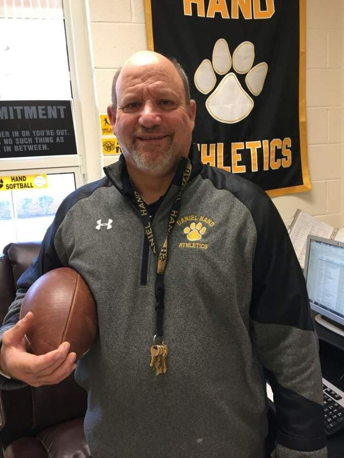 After 27 years, more than 200 wins, and seven state titles, Steve Filippone stepped down as the head coach of the Hand football program this fall. Steve's legacy goes well beyond the victories, though, as he's known for helping out anyone in any way he can, regardless of whether it's a football player. Photo courtesy of Steve Filippone