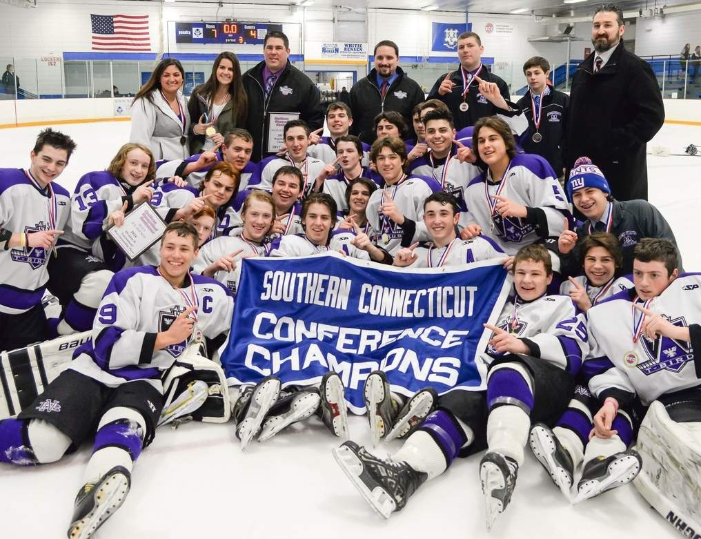 The North Branford boys' ice hockey team won the SCC/SWC Division II Tournament title by skating to a 7-4 victory versus Cheshire this year. The team went on to reach the Division II State Tournament final for the second year in a row.   Photo by Kelley Fryer/The Sound