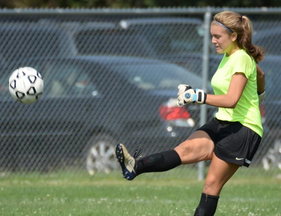 Sophomore Allie Augur continued her excellent play in goal for the North Branford girls' soccer team this fall. The Thunderbirds never allowed more than two goals in a game and reached the postseason for the first time in Head Coach Pat Kozloski's four years at the helm of the program  Photo by Kelley Fryer/The Sound