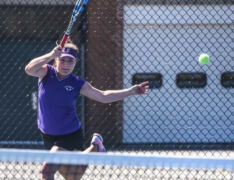 Westbrook junior Casey Burns continued her dominance on the tennis court by claiming her third-consecutive Shoreline Conference singles title this past spring.  Photo by Kelley Fryer/Harbor News