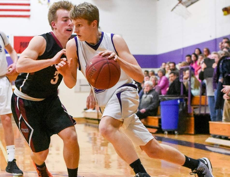 Brett Lequire has recorded a double-double in his last three games for the North Branford boys' basketball squad, which is 3-1 to start the season.  Photo by Wesley Bunnell/The Sound